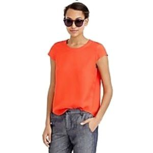 J. Crew Drapey Oxford Crepe cap Sleeve Top